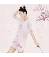 ガーベラレディース 花柄 刺繍 半袖 ニューバージョン チャイナードレス 2点セット アンサンブル Aラインワンピース rp9439-1