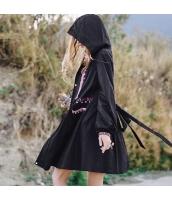ガーベラレディース フード付き ランタン袖 エスニック 刺繍 コート ミディアム丈 rp9445-1