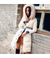 ガーベラレディース フード付き襟 フェークファー 刺繍 長袖 ダウンコート ミディアム丈 rp9463-1