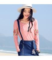 ガーベラレディース 小鳥とお花刺繍 Vネック ストレート Tシャツ・カットソー 長袖 rp9506-5