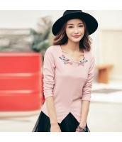 ガーベラレディース 丸首 刺繍 イレギュラー裾 Tシャツ・カットソー 長袖 rp9510-3