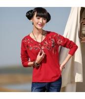 ガーベラレディース Vネック 花柄 刺繍 ドロップショルダー ゆったり ニットウェア セーター rp9565-1
