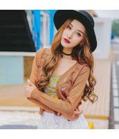ガーベラレディース Vネック 刺繍 ショート丈 薄手 カーディガン ニット・セーター 長袖 rp9600-3