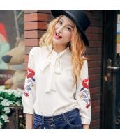 ガーベラレディース リボン スタンドカラー 刺繍 シフォン シャツ 七分袖 rp9602-2