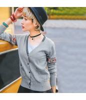 ガーベラレディース Vネック 刺繍 ショート丈 薄手 カーディガン ニット・セーター 長袖 rp9616-1