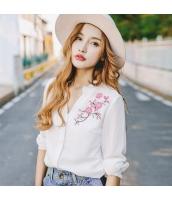 ガーベラレディース スタンドカラー 刺繍 ホワイト ストレート シフォン シャツ 長袖 rp9617-1