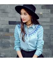 ガーベラレディース 刺繍 スリット コーデアイテム シャツ 長袖 rp9633-1