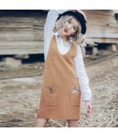 ガーベラレディース Vネック 刺繍 ニット 袖なし ストレート ジャンパースカート rp9686-1