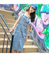 ガーベラレディース デニム 刺繍 ストラップ 袖なし 着やせ ジャンパースカート rp9700-1