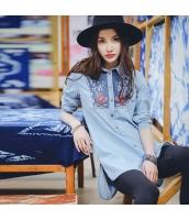 ガーベラレディース 刺繍 ゆったり 純綿 デニム シャツ チュニック 長袖 rp9730-1