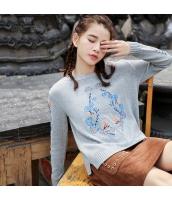 ガーベラレディース 丸首 刺繍 スリット入り コーデアイテム ニットウェア セーター rp9750-1