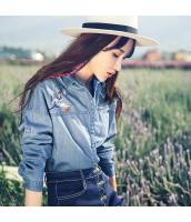 ガーベラレディース 刺繍切替 調節可能袖 コーデアイテム デニム シャツ 長袖 rp9774-1
