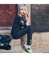 ガーベラレディース 丸首 刺繍 長袖 プルオーバー & カジュアル ロングパンツ アンサンブル スウェット 上下セット rp9821-1