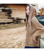 ガーベラレディース フード付き 刺繍 ゆったり 厚手 カーディガン ニット・セーター 長袖 rp9826-1
