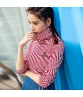ガーベラレディース タートルネック 刺繍 コーデアイテム 細いボーダー Tシャツ・カットソー 長袖 rp9913-1