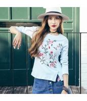 ガーベラレディース 丸首 刺繍 スリット コーデアイテム Tシャツ・カットソー 長袖 rp9960-1