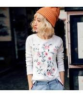 ガーベラレディース 丸首 刺繍 スリット コーデアイテム Tシャツ・カットソー 長袖 rp9960-3