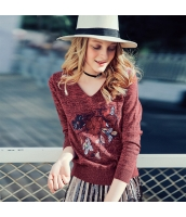 ガーベラレディース Vネック 刺繍 カジュアル ゆったり ニットウェア セーター rp9971-1