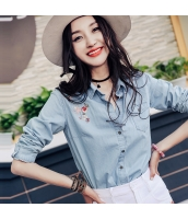 ガーベラレディース 刺繍 デニム シャツ 長袖 rp9976-1