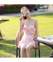 ワンピース水着 レースワンピ水着 裾フリルトップ ボックスショーツタイプ ピンク色 sdb17079-2