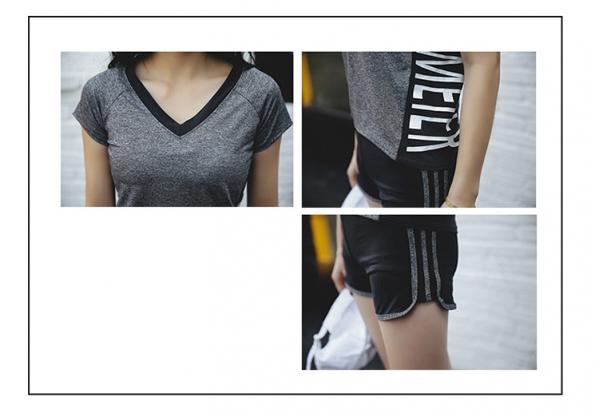 ヨガ フィットネス トレーニング Tシャツ+タンクトップ+パンツ(7分丈)+ショートパンツ4点セット アンサンブル スポーツウェア ピラティス ジム ダンス ランニング シェイプアップ ダイエット smq7011-3