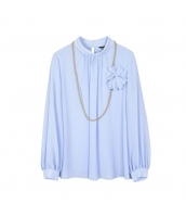 ガーベラレディース ブラウス 長袖 3D花飾り w10228-1
