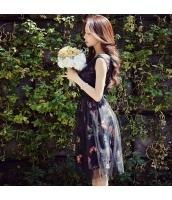 ガーベラレディース 膝丈ワンピース ノースリーブ フレアワンピース メッシュ切替 花柄 夏物 w10626-1