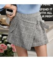 【キュロットスカート】ミニスカート【非対称裾】チェック柄【灰色】グレー【春物】 w11167-1