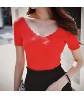 【ニットウェア】セーター【半袖】Vネック【春物】赤【レッド】 w11320-1