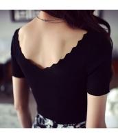 【ニットウェア】セーター【半袖】Vネック【春物】黒【ブラック】 w11320-3