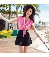 【ニットウェア】セーター【半袖】薄手【リボンネックタイ付き】夏物【桃色】ピンク w11347-1