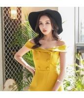 【オールインワン】オフショルダー【夏物】黄色い【イエロー】 w11396-1