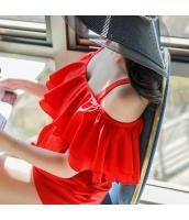 【オールインワン】オフショルダー【フレアトップ】夏物【赤】レッド w11407-1