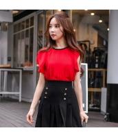 【ブラウス】半袖【着やせ】夏物【赤】レッド w11420-1