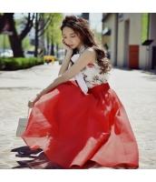 【ハイウエストスカート】フレアスカート【ロング・マキシスカート】メッシュ【夏物】赤【レッド】 w11428-1