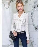 【即納】シャツ ブラウス 長袖 胸元大きいリボン飾り-w3280【カラー:ホワイト】【サイズ:S】