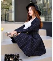 【即納】ベルト付きチェック柄Vネック裾フレアAライン膝丈長袖コート tk-w6004-xs-gz【カラー:画像参照】【サイズ:XS】