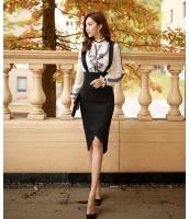 【即納】ハイウエストサイドファスナー付き裾非対称細身タイト取り外しサスペンダー付き膝丈スカート tk-w6020-xs-bk【カラー:画像参照】【サイズ:XS】