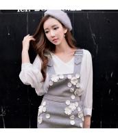 シャツ 無地 長袖 ファッション Vネック  w8620-1