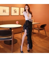 スカート 膝丈 フレア・ギャザー ファッション スカラップ ハイウエスト w8940-1
