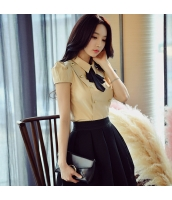 ガーベラレディース シャツ 半袖 OL 着やせ 蝶結び 韓国風 w9165-1