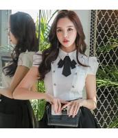 ガーベラレディース シャツ 半袖 OL 着やせ 蝶結び 韓国風 w9165-2