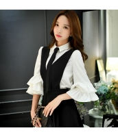 ガーベラレディース コーデアイテム ぺプラム裾 シャツ 七分袖 w9532-1