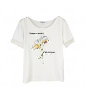 ガーベラレディース Tシャツ カットソー 半袖 刺繍入り w9713-1