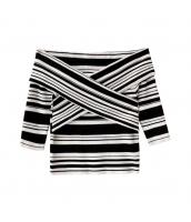 ガーベラレディース ニットウェア セーター 半袖 ベアトップ w9756-1