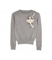 ガーベラレディース ニット・セーター セーター 長袖 立体花 w9970-1