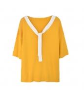 ガーベラレディース ニットウェア セーター 半袖 Vネック w9982-1