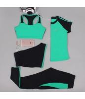 ヨガ フィットネス トレーニング 半袖Tシャツ+タンクトップ+重ね着風パンツ(取り外し可能)4点セット アンサンブル スポーツウェア ピラティス ジム ダンス ランニング シェイプアップ ダイエット xmn1701-4