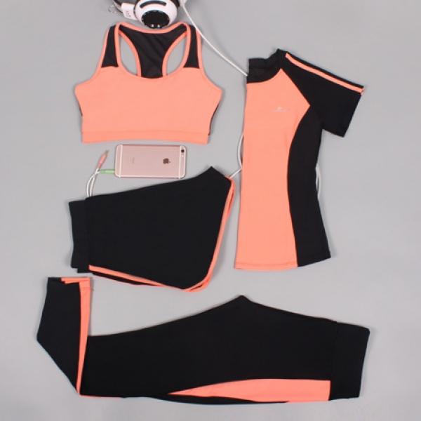 ヨガ フィットネス トレーニング 半袖Tシャツ+タンクトップ+重ね着風パンツ(取り外し可能)4点セット アンサンブル スポーツウェア ピラティス ジム ダンス ランニング シェイプアップ ダイエット xmn1701-6