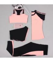 ヨガ フィットネス トレーニング 半袖Tシャツ+タンクトップ+重ね着風パンツ(取り外し可能)4点セット アンサンブル スポーツウェア ピラティス ジム ダンス ランニング シェイプアップ ダイエット xmn1701-8
